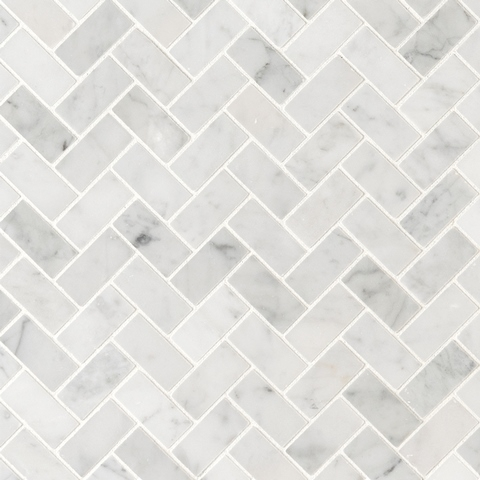 Carrara White 1x2 Honed Herringbone