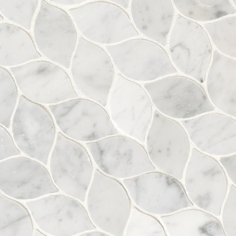 Carrara White Blanco Honed Interlocking Mosaic