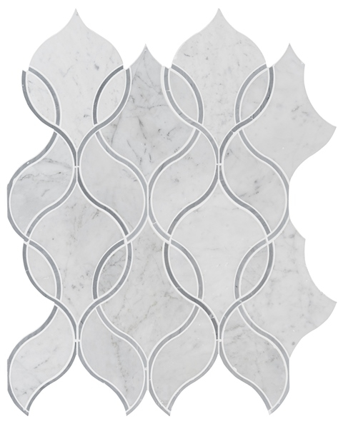 Carrara White Ellipsis Backsplash Tile