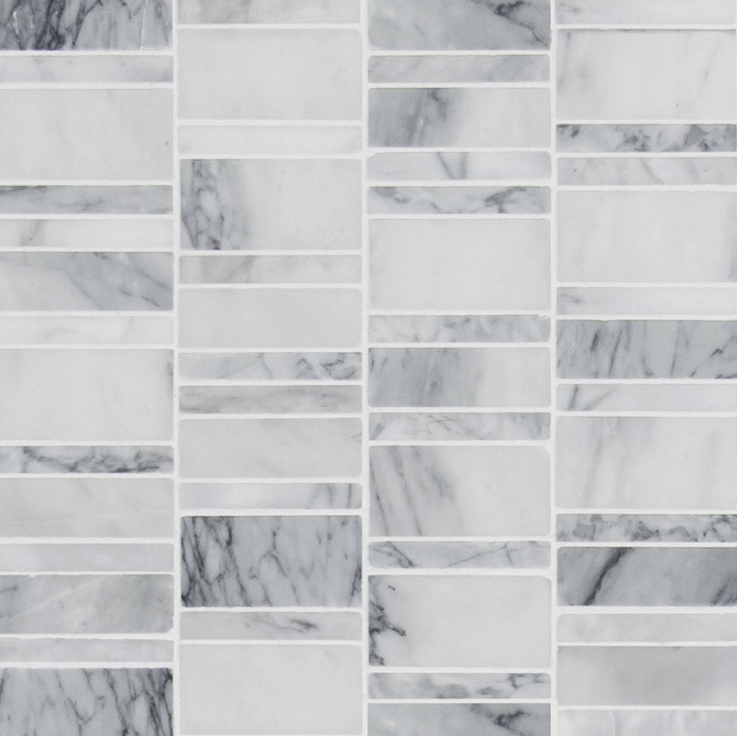 Free Shipping Carrara Classique Multi Pattern Honed Mosaic Tile Marble Mosaic Wallandtile Com