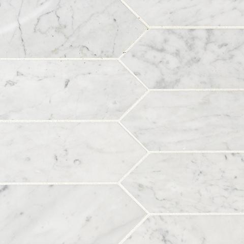 Carrara White 3x12 Honed Picket