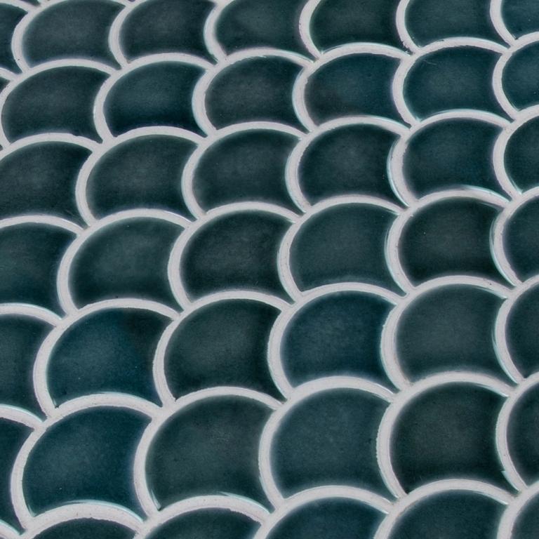 Azul Scallop Fish Scale Ceramic Mosaic