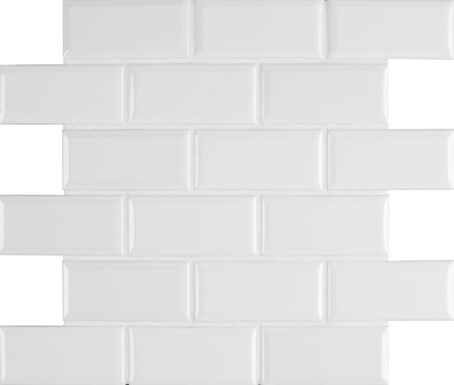 Bright White Beveled 2x4 Subway Tile
