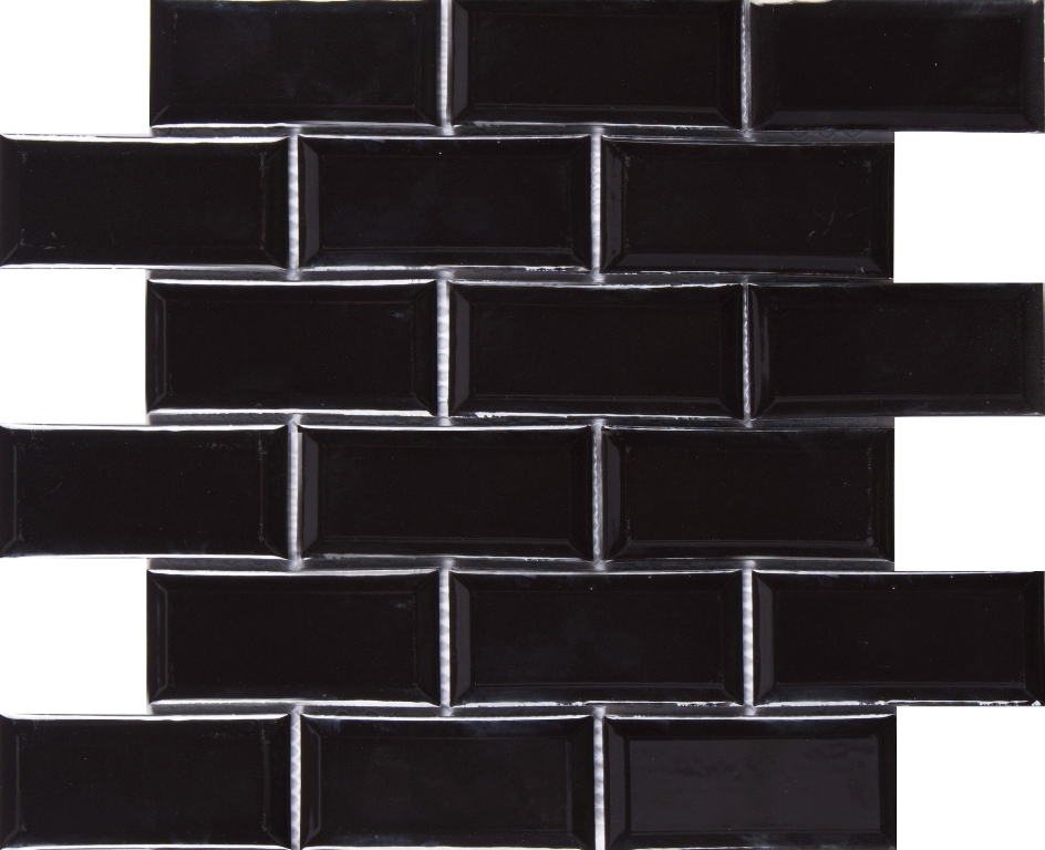 Wall And Tile Midnight Black Bevel Subway Tiles