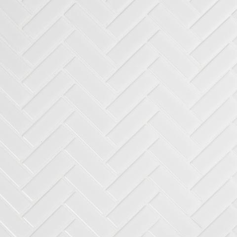 FREE SHIPPING - Retro Bianco Glossy Herringbone Mosaic