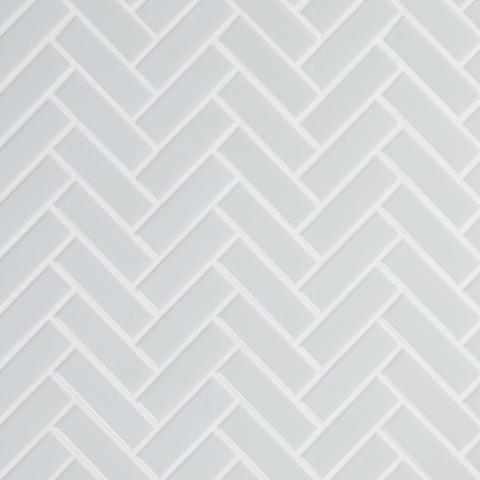 Retro Gray Glossy Herringbone Mosaic