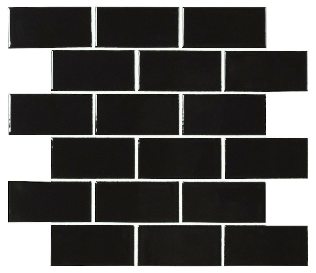 FREE SHIPPING - Domino Retro Nero Matte 2x4 Brick Mosaic