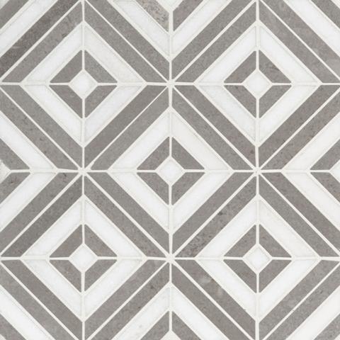 Rhombix Dove Polished Marble Mosaic