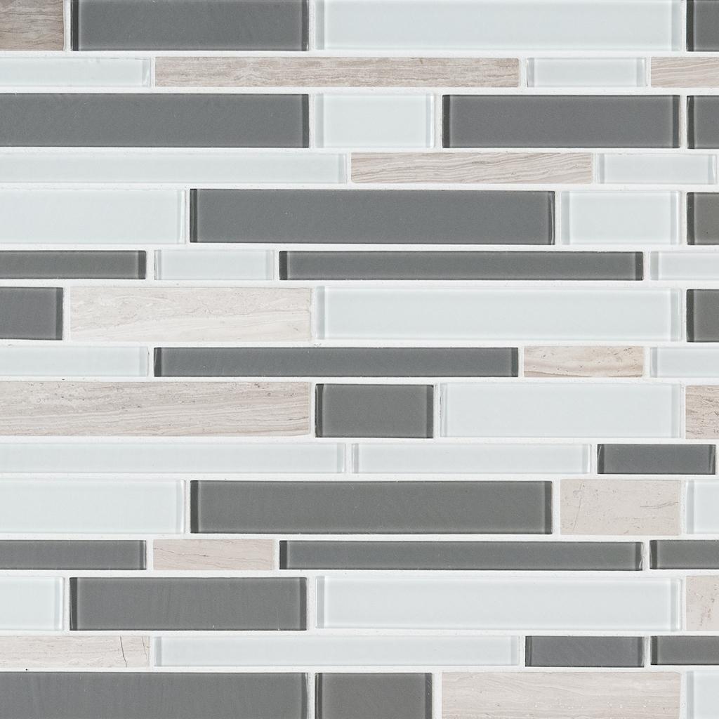 FREE SHIPPING - Gray Cliff 12x12 Interlocking Glass Stone Mosaic