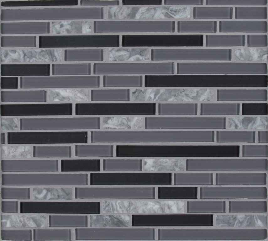 Lorena Grigio Glass Stone Metal Interlocking Mosaic