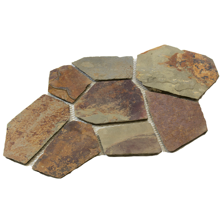 China Multicolor 5.38 Sft Meshed Flagstone