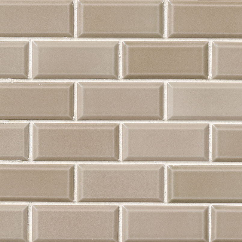 Taupe Beveled 2x4 Subway Tile