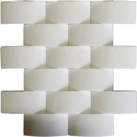 FREE SHIPPING - Thassos 2x4 3D Wavy Brick