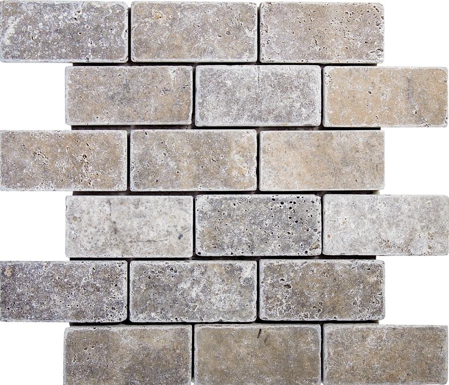 FREE SHIPPING - Silver Travertine 2x4 Tumbled Brick Mosaic