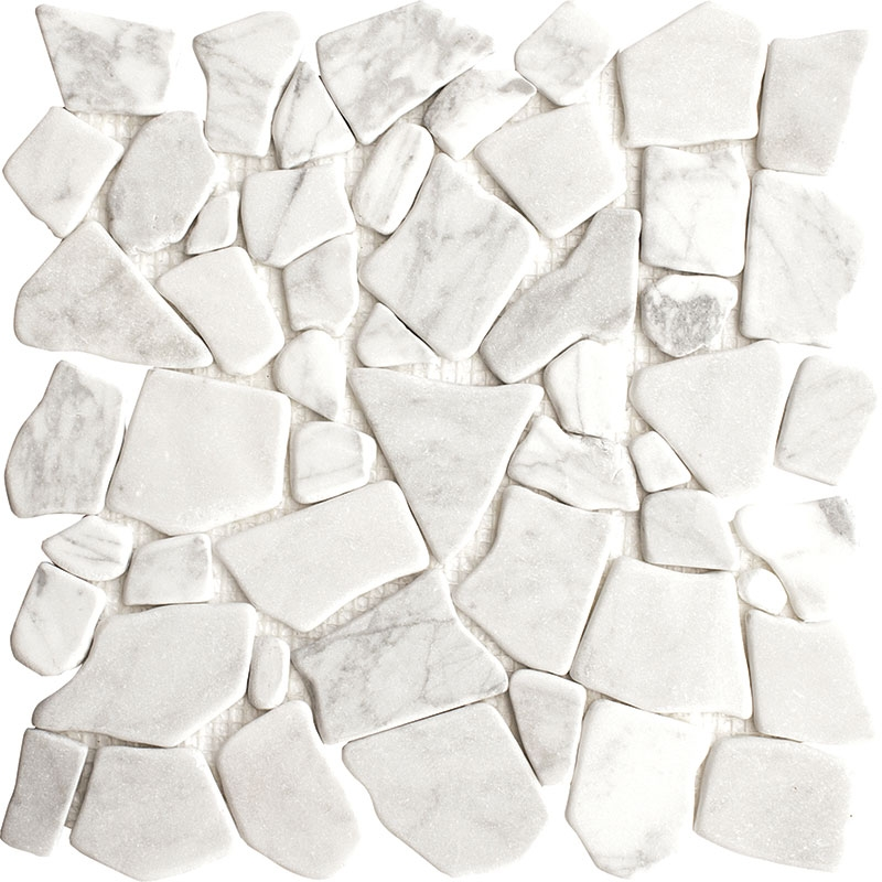 Carrara White Flat Puzzle Pebble