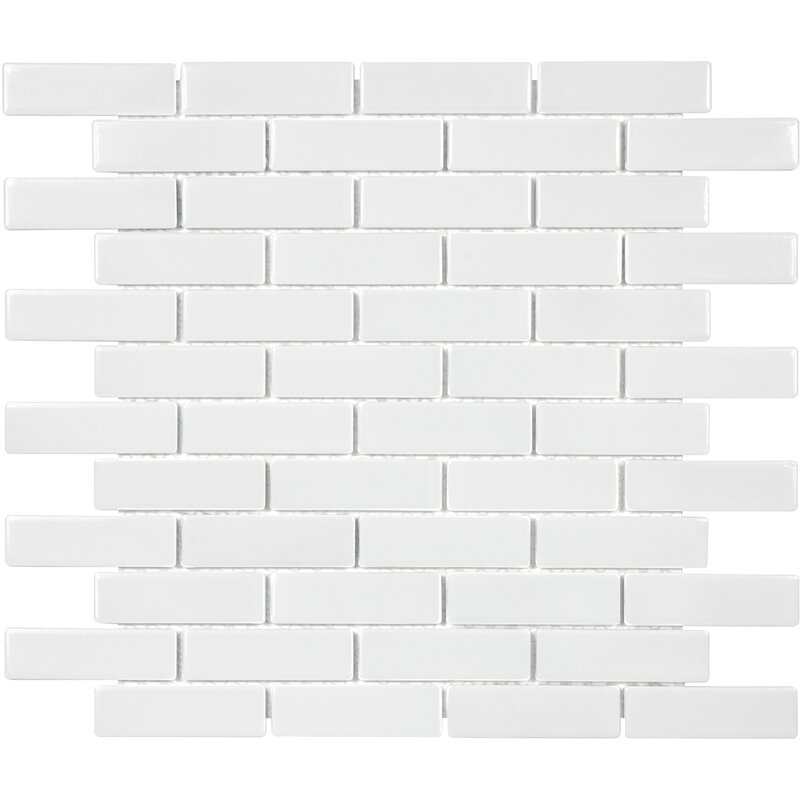 FREE SHIPPING - Retro White Glossy 1x3 Brick Mosaic
