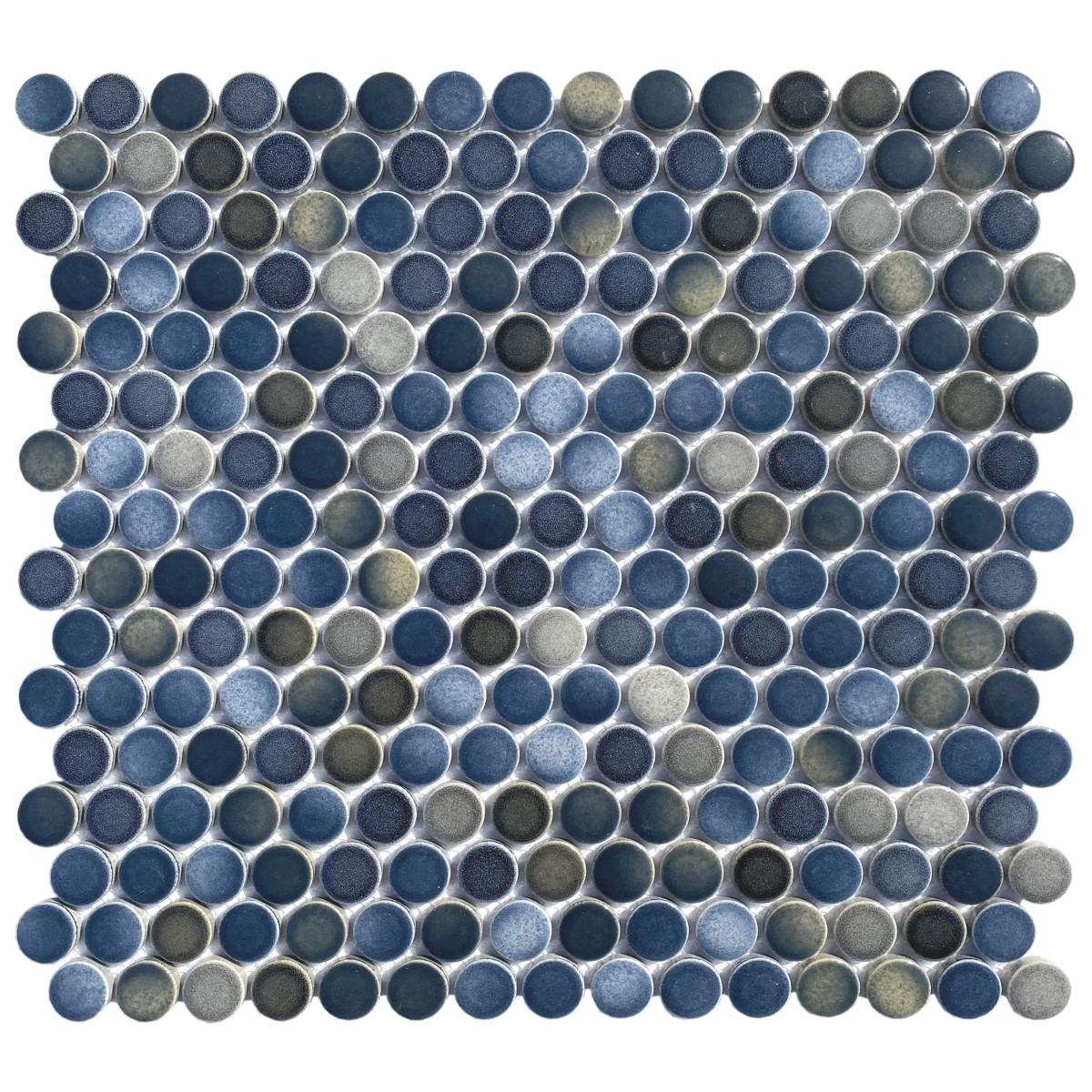FREE SHIPPING - Blue Metallico Porcelain Penny Round Mosaic