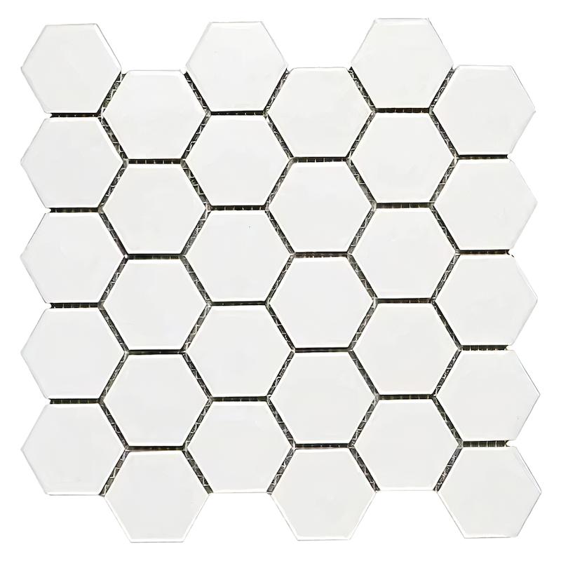 FREE SHIPPING - Domino White Glossy 2x2 Hexagon Mosaic