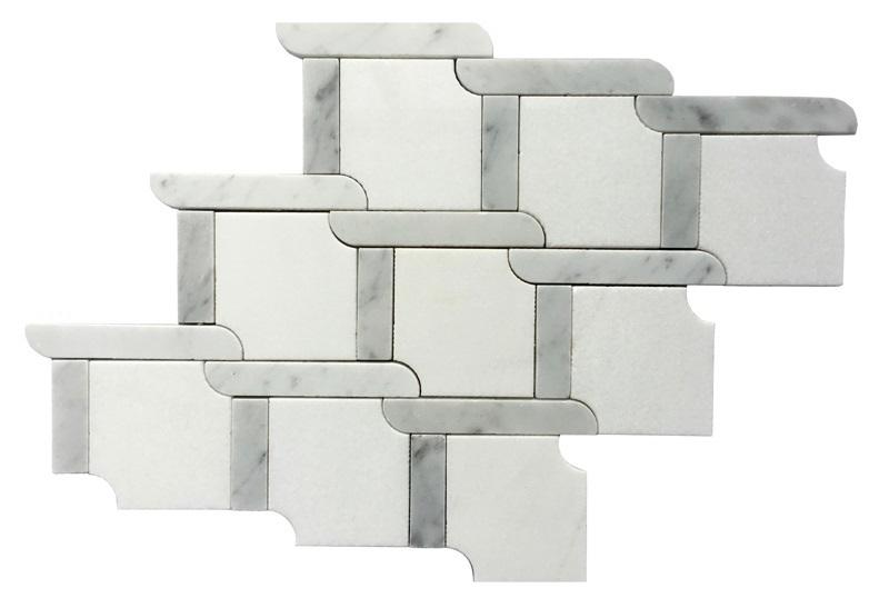 Trellis Blanco 9x9 Waterjet Mosaic