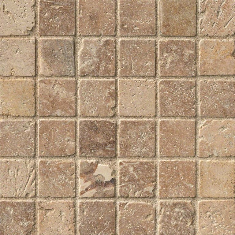 Tuscany Walnut 2x2 Travertine Mosaic
