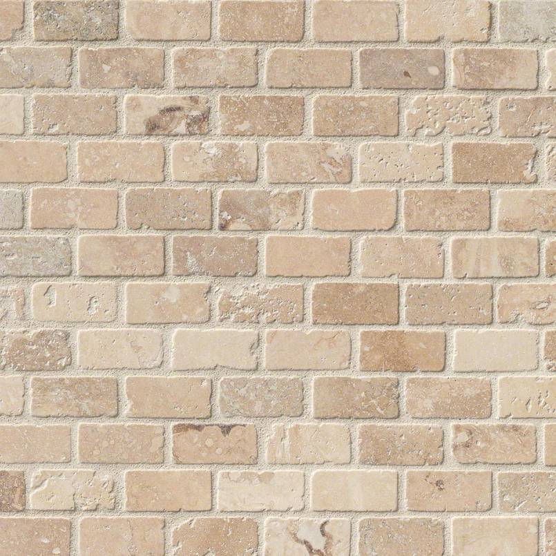 Tuscany Classic Brick 1x2 Tumbled Mosaic