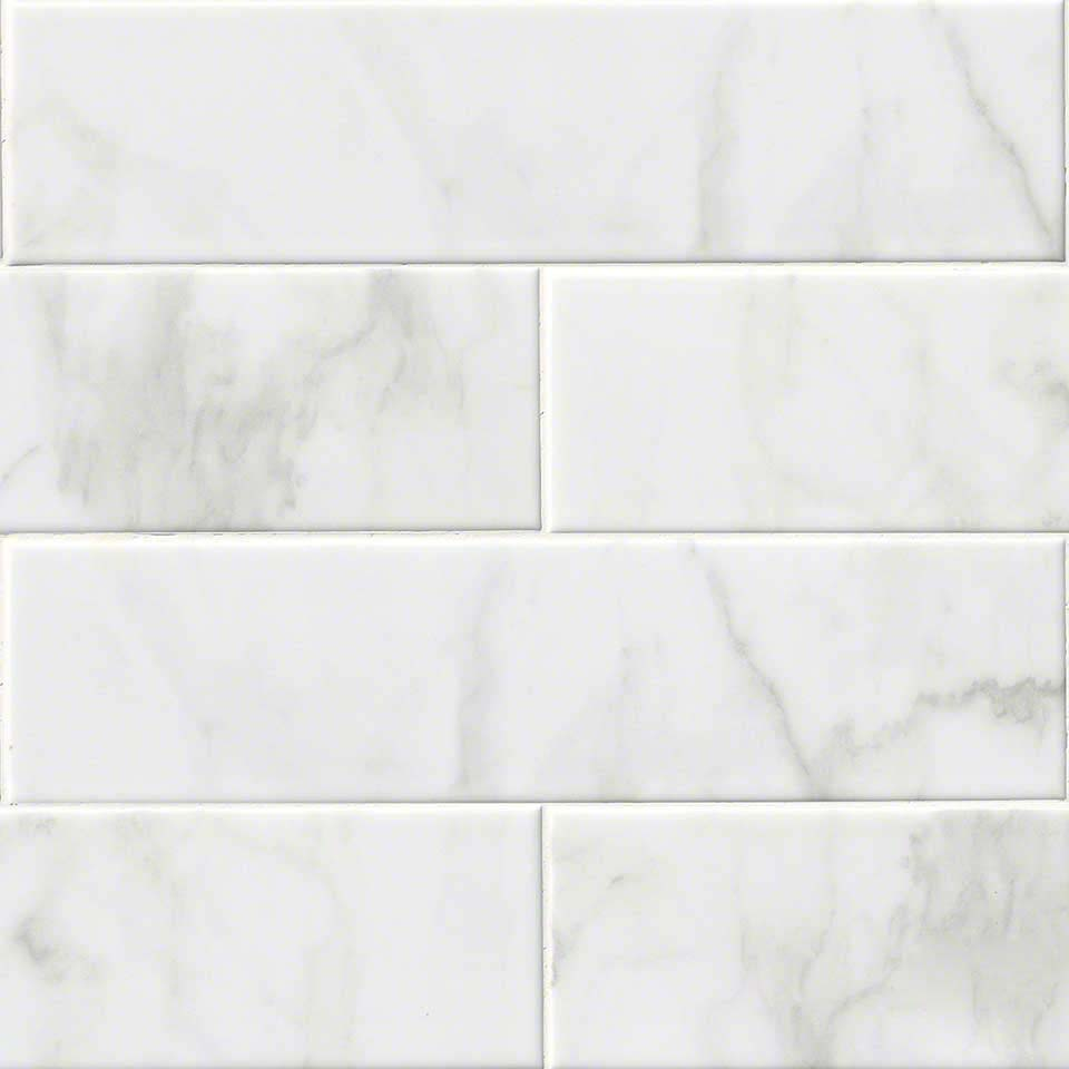 Buy carrara white 4x16 ceramic glossy subway wallandtile wall and tile carrara white 4x16 glossy subway dailygadgetfo Image collections