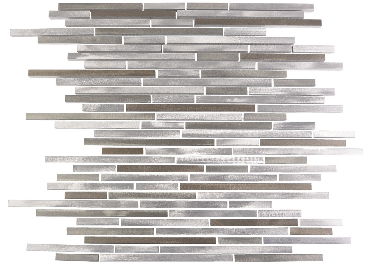 Silver Light Brushed 12x12 Aluminum Mosaic