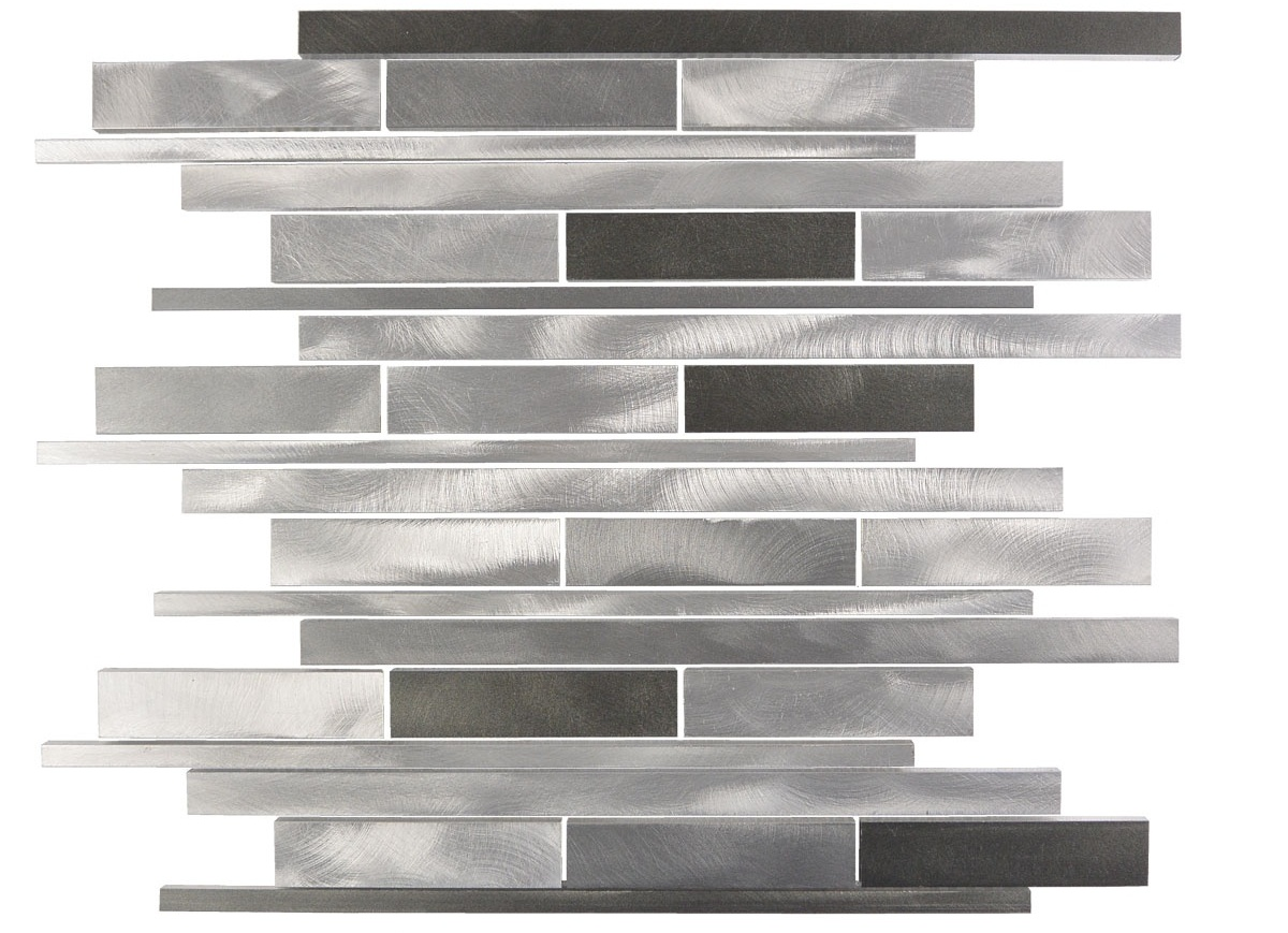 Silver Dark Wide Brushed 12x12 Aluminum Mosaic