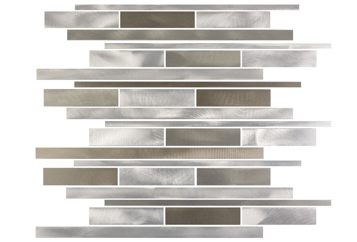 Silver Light Wide Brushed 12x12 Aluminum Mosaic