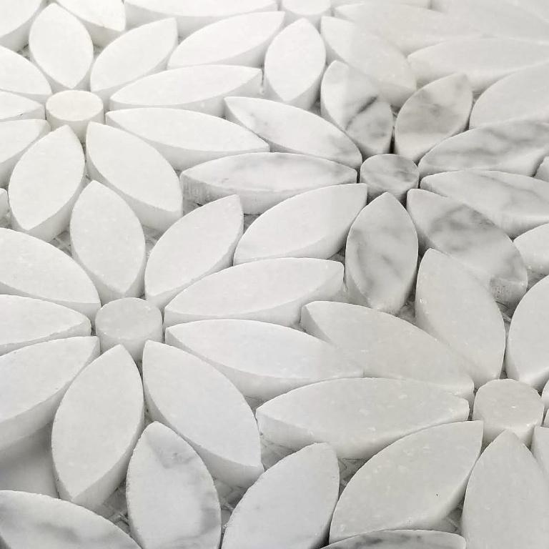 Carrara White Flower Waterjet Pattern