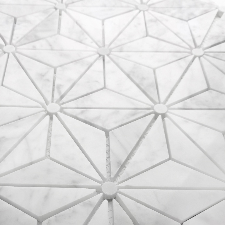 Carrara White Triangle Waterjet Pattern