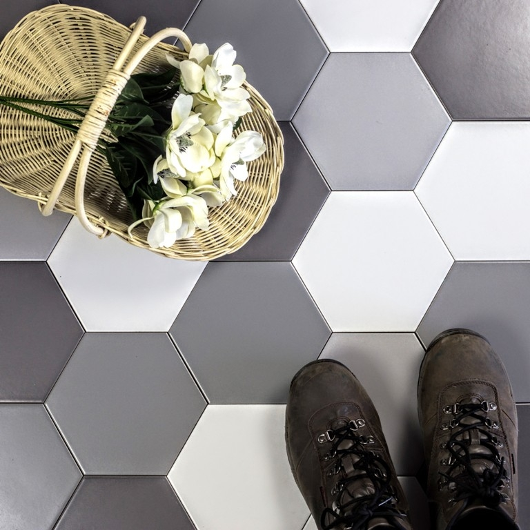 Grand Cement 7x7 Gray Scales Hexagon Printed Tiles