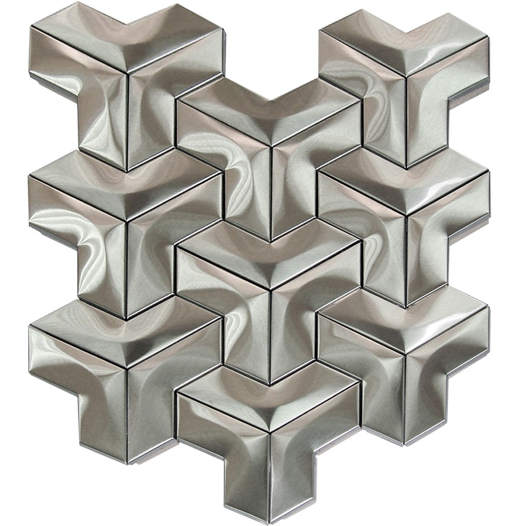 Stainless Steel 3D Interlocking Arrowhead Mosaic
