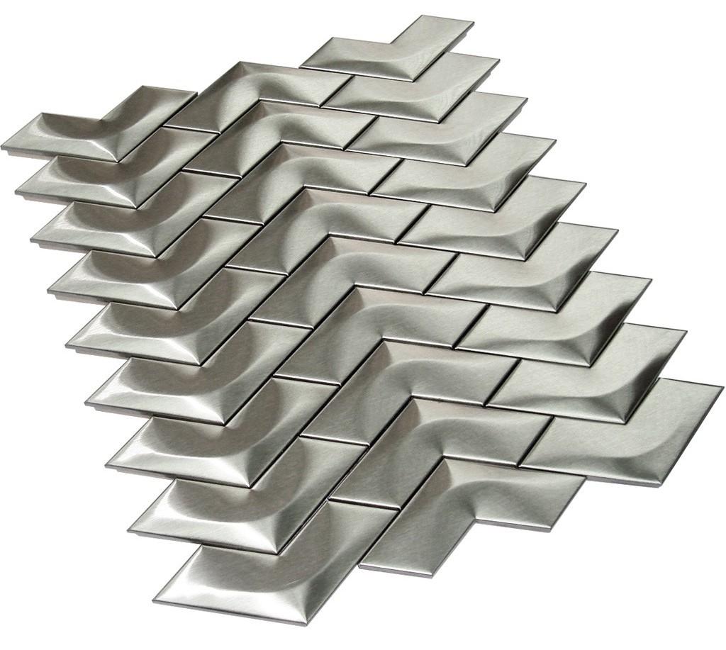 Stainless Steel 3D Herringbone Mosaic